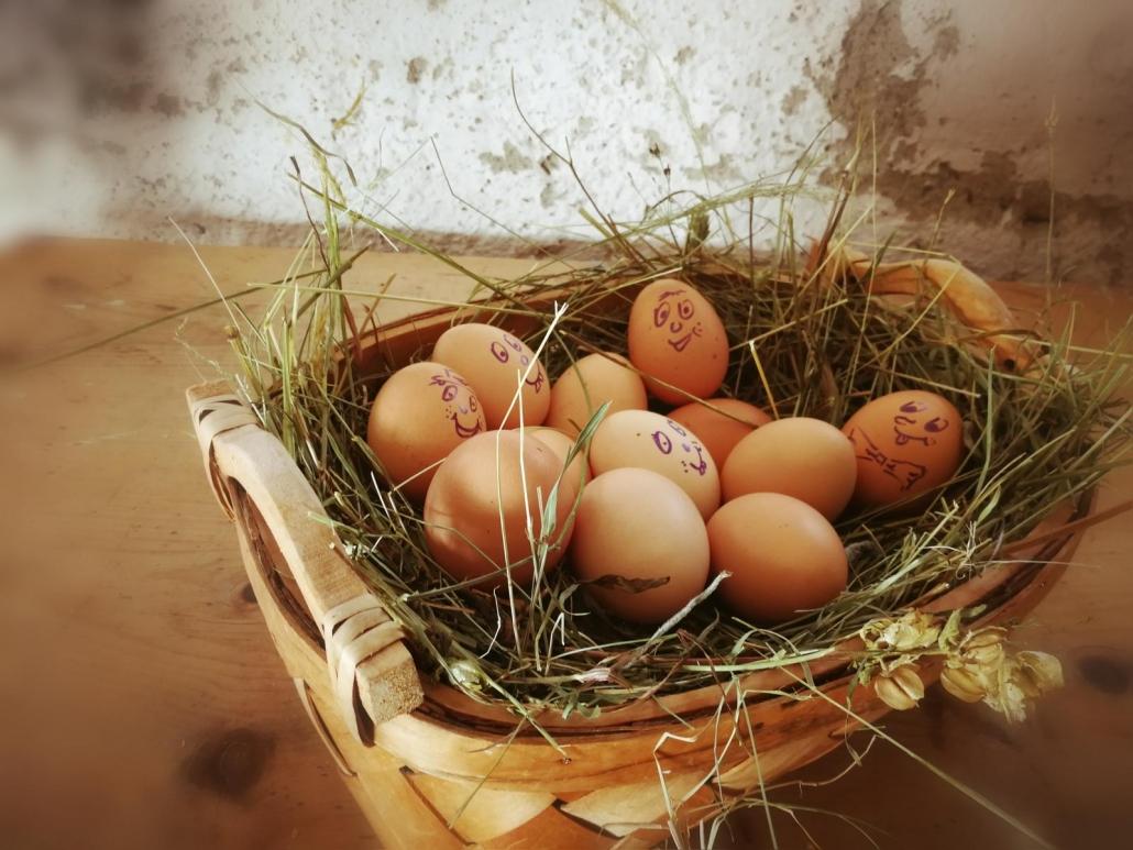 schau mal glückliche Eier